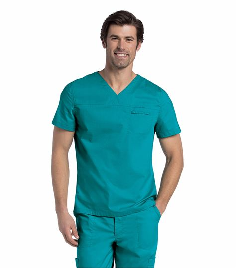Landau Men's Solid V-Neck Scrub Top-7478