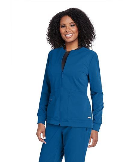 Grey's Anatomy 3 Pocket Princess Line Warm Up Scrub Jacket-GRSW017