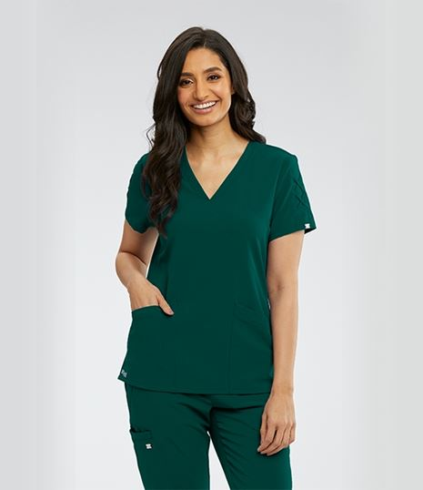 Grey's Anatomy Signature Women's Lace Sleeve Scrub Top-GNT019
