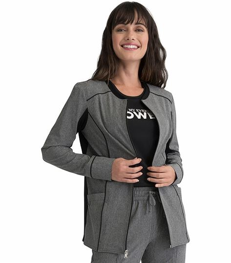 Elle Knit Trim Zip Front Scrub Jacket-EL325