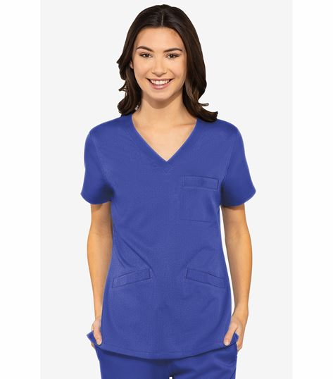 Med Couture Touch Women's V Neck 3 Pocket Top-7463