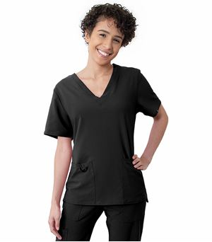 Worked In Women's V-Neck Scrub Top With Pockets SB101A