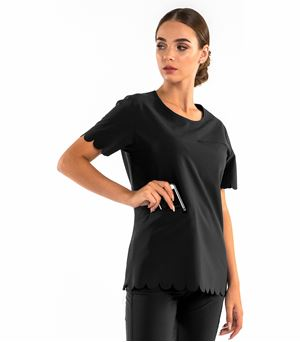 Worked In Women's Stylish Scalloped Round Neck Fashion Scrub Top SP203A