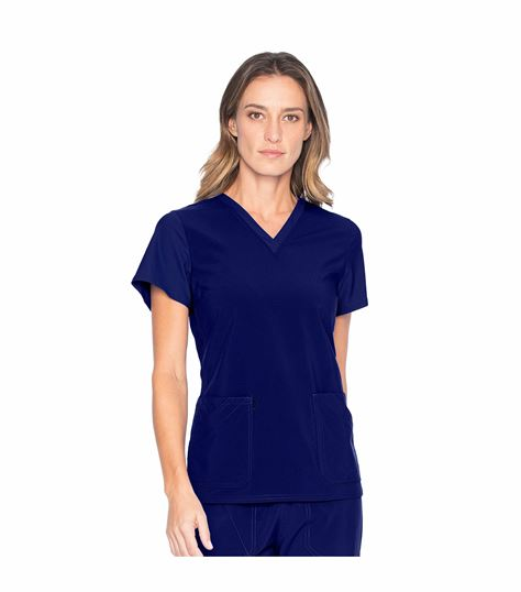 Urbane Performance Women's V-Neck Scrub Top With Knit Panels-9738